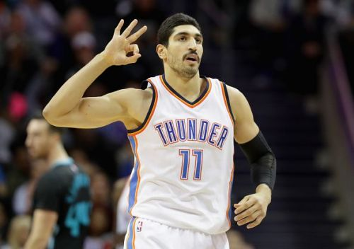Kanter celebrates after hitting a three against the Charlotte Hornets during his tenure with OKC