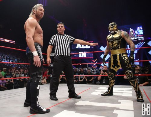 NJPW Superstar Kenny Omega faces off against Lucha Underground and Impact's Pentagon Jr. at All In.