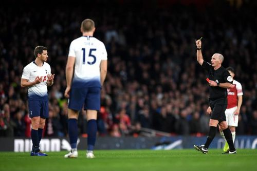 Vertonghen was sent off by the referee after a cynical foul on Lacazette at the 85th minute