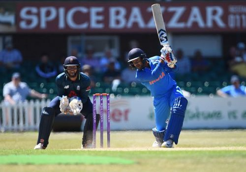 Mayank Agarwal in action for India A against England Lions