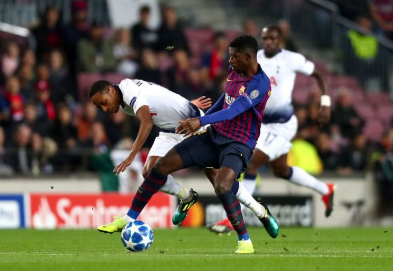 Baptism of fire: Walker-Peters lost possession and was outmuscled in the build-up to Dembele's goal