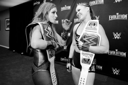 Becky Lynch with Ronda Rousey