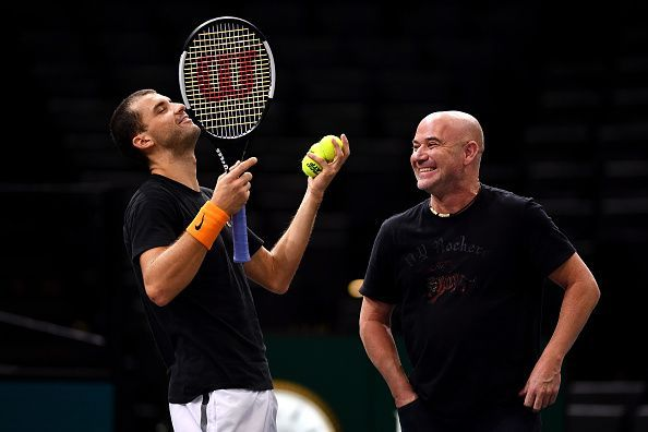 Grigor Dimitrov and Andre Agassi having a ball at the Rolex Paris Masters 2018