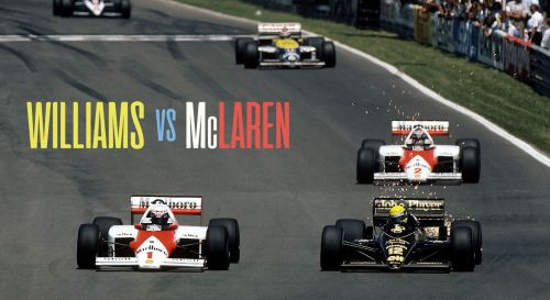 The McLarens being chased by a Williams and Lotus