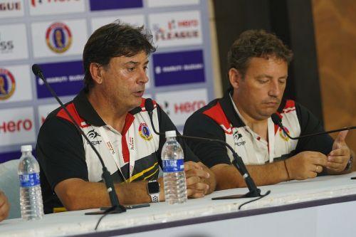Alejandro Menendez (left) of East Bengal