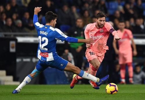 Stretch all you like, you cannot stop Messi by sticking a leg out. Didac Vila was at the receiving end of some insane turns and twists.