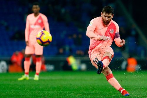 Messi netted two free-kicks against Espanyo