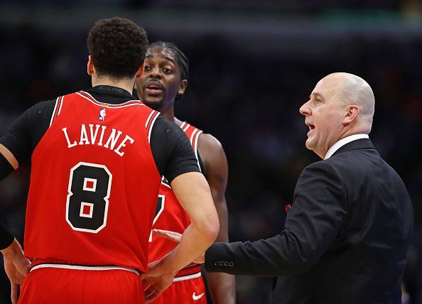 New Bulls coach Jim Boylen interacting with Justin Holiday and Zach LaVine