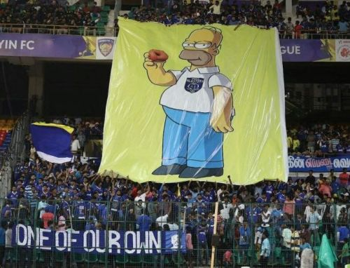 Chennaiyin FC fans unfurled this banner last season when they played Kerala Blasters at home