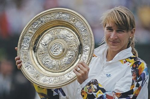 Steffi Graf after winning the 1991 Wimbledon Lawn Tennis Championship