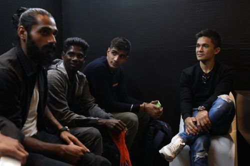Indian national football team stars (from left) Sandesh Jhingan, Rowllin Borges, Gurpreet Singh Sandhu and Sunil Chhetri