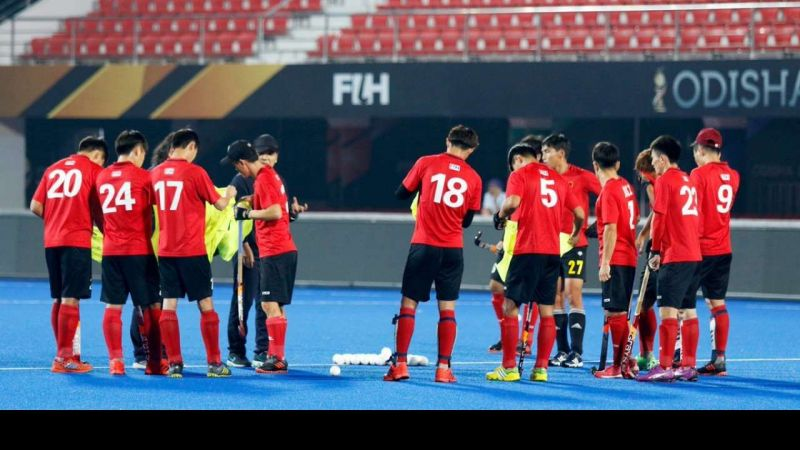 Chinese national team warming up for their match