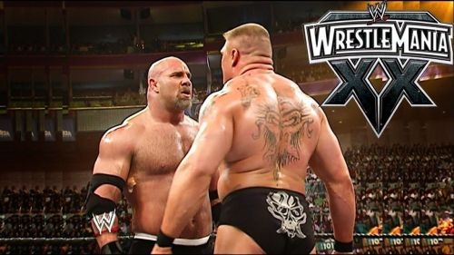 Image result for Goldberg brock lesnar wrestlemania 20