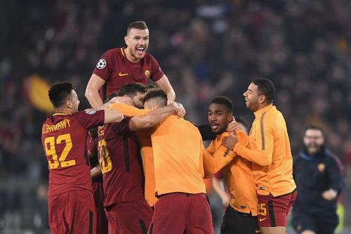 AS Roma players erupted in joy after their historic win vs FC Barcelona