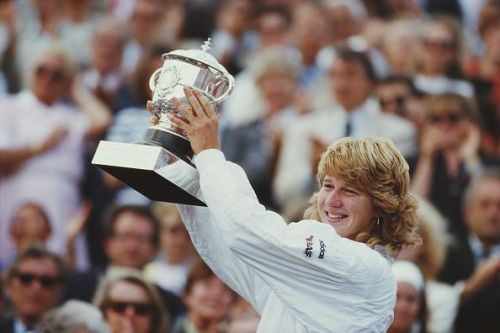 Steffi Graf with the 1987 French Open Trophy