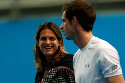 Amelie Mauresmo with Andy Murray with whom she worked with for 2 years from 2014 to 2016