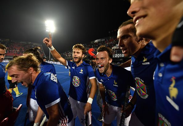 French team celebrating the goal against China