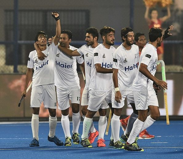 Pakistani players celebrating after scoring against Malaysia