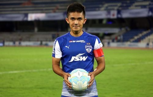Sunil Chhetri (right) is the only player who has been with Bengaluru FC since the club's inception