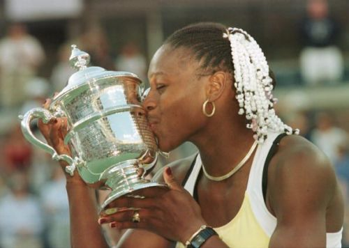 Serena Williams with her first Grand Slam crown at the US Open of 1999