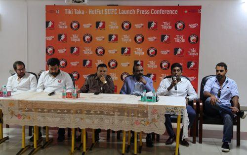 Tiki Taka Director Prahlad Meyyappan speaks at the launch of the HotfutSUFC and Tiki Taka Partnership