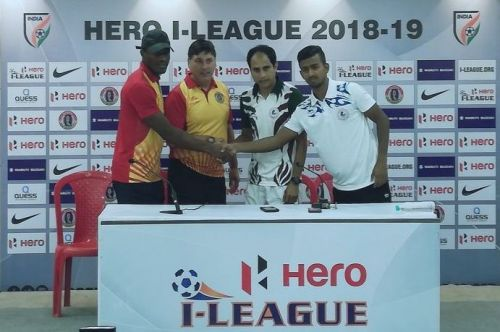 East Bengal coach Alejandro Menendez with his Mohun Bagan counterpart Sankarlal Chakraborty; Kassim Aidara (extreme left) and Azharuddin Mullick shake hands