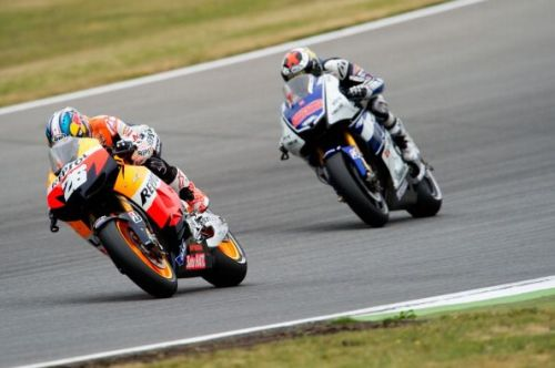 Lorenzo lost out to Pedrosa on the last lap of the race