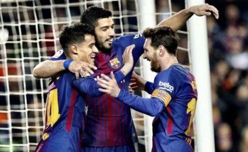 Coutinho, Suarez, and Messi