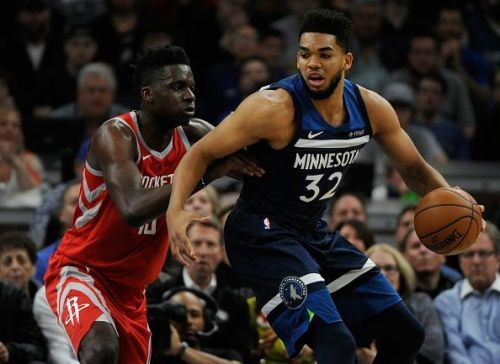 Action from Houston Rockets v Minnesota Timberwolves