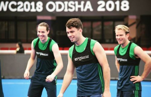 Irish players during a training session ahead of their match against China