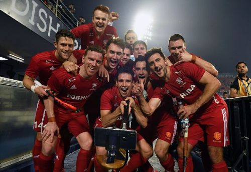 English players take a selfie after a win at the Men's Hockey World Cup