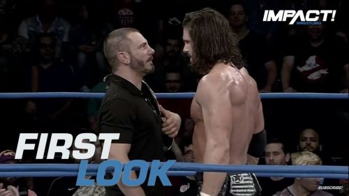 Stare down between former Impact World Heavyweight Champion Austin Aries & Johnny Impact