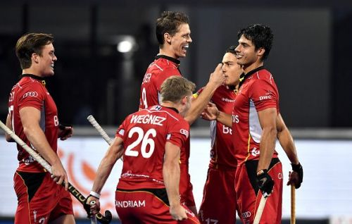 Belgian players are all smiles after scoring against Pakistan