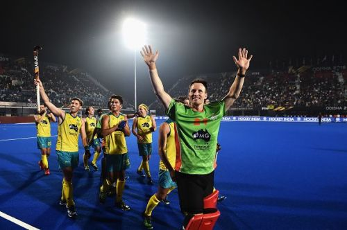 The Australian team celebrates their win at the Men's Hockey World Cup 2018 on Tuesday