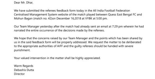 Debashish Dutta's letter