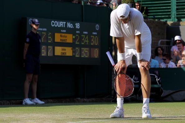 John Isner during his famous 70-68 final set against Nicholas Mahut in 2010