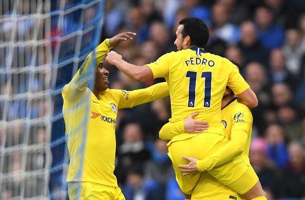 Brighton & Hove Albion v Chelsea FC - Pedro celebrating his goal (Chelsea 1-0 Brighton)