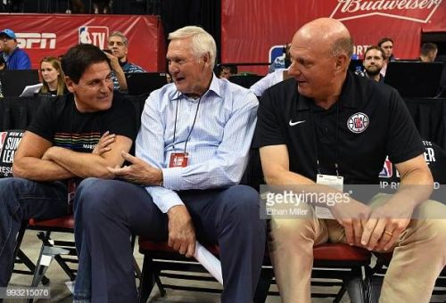 Mavs owner Mark Cuban, Clippers GM Jerry 'Logo' West and Clippers owner Steve Ballmer