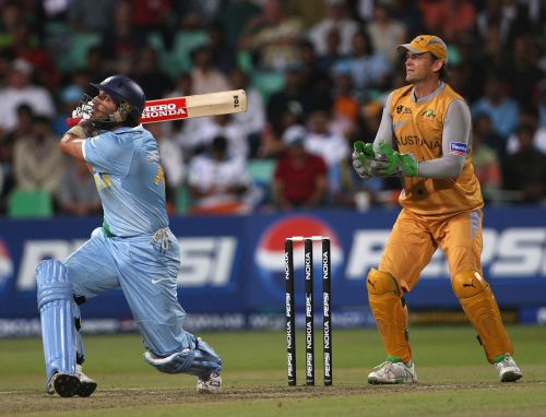 Yuvraj Singh sends the ball flying into the crowd for a 6