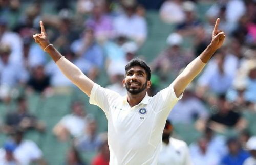 Bumrah celebrates. He is the reason for India's stronghold over this contest.