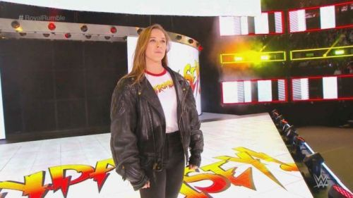 Ronda Rousey set foot in a WWE arena for the first time at this year's Royal Rumble