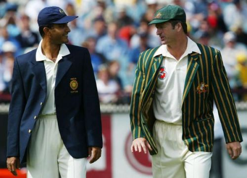 Sourav Ganguly (L) and Steve Waugh