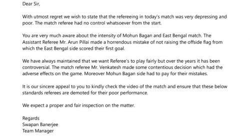 Swapan Banerjee's letter