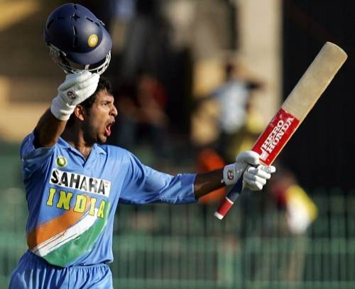 Yuvraj Singh after completing his century