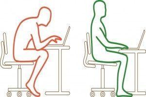 कम्प्यूटर के सामने बैठने का सही तरीका हरे से इंगित है