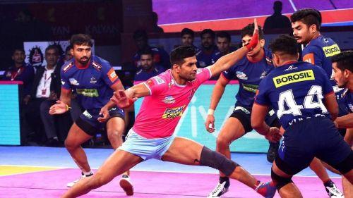 Deepak Niwas Hooda scored eight points for the Jaipur side