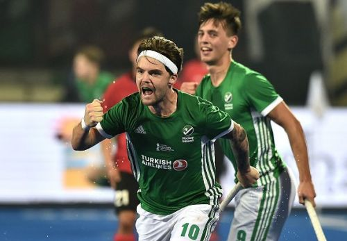 Ireland's Alan Sothern celebrates after scoring his teams' solitary goal against China