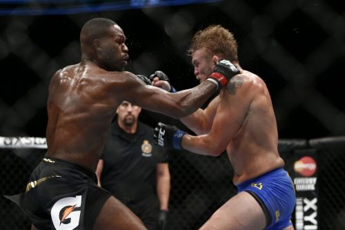 Jon Jones and Alexander Gustafsson in action during their maiden fight at UFC 165!