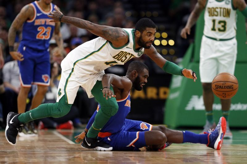 Kyrie Irving left the game with about four minutes left