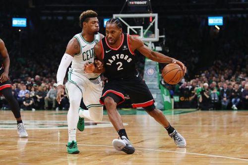 Action from Toronto Raptors v Boston Celtics game